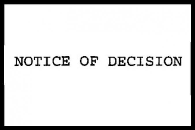 L-and-I Notice Of Decision letter